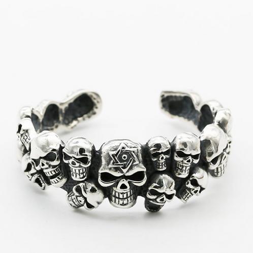 Western punk rock style domineering skull men's bracelet sterling silver 925