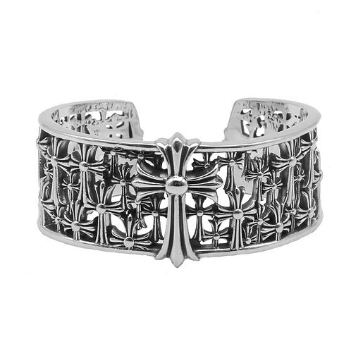 Unique design punk style hollow-out cross bracelet sterling silver 925