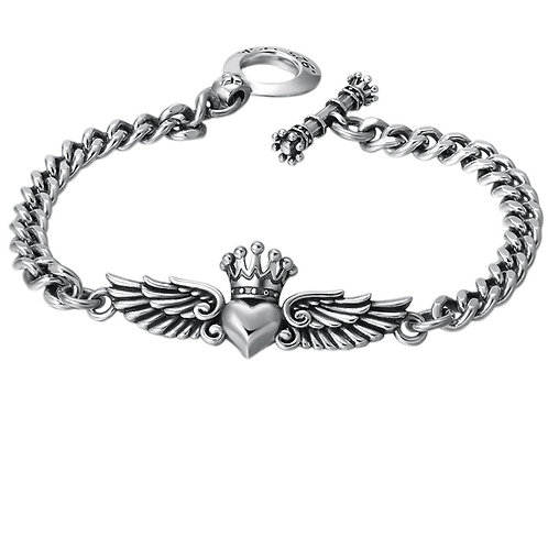 Fashion design wing crown heart shape bracelet sterling silver 925