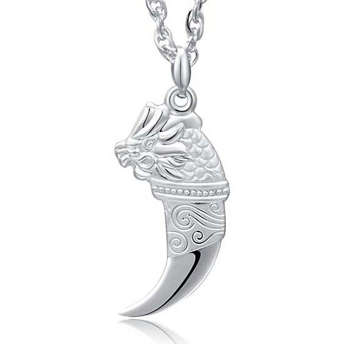 Silver fashion wolf fang pendant sterling silver 999