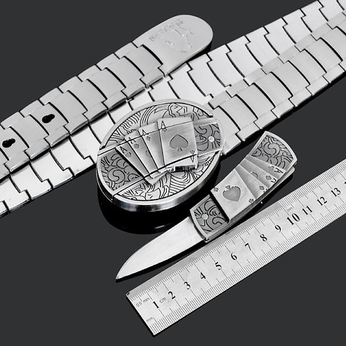 Men's Metal Stainless Steel Belt with Knife