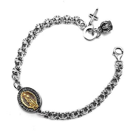 Western style silver Virgin Mary couple bracelet sterling silver 925