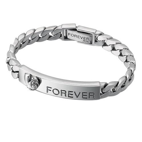 Silver retro fashion forever heart shape broad flat bracelet sterling silver 925