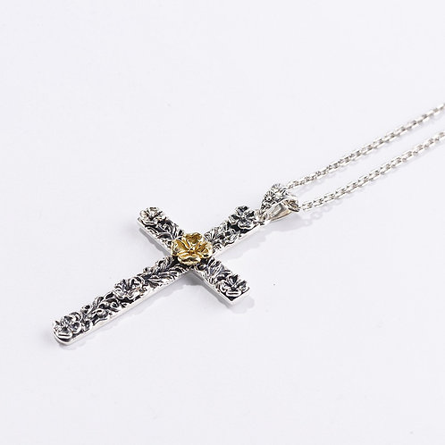 Silver retro floral pattern cross mens' pendant sterling silver 925