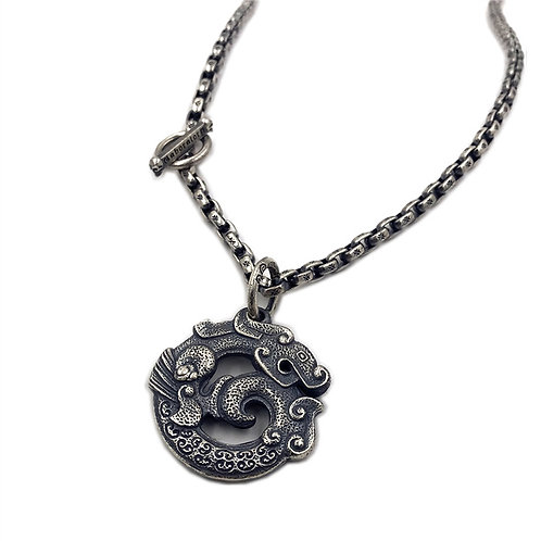 Dragon pattern pendant sterling silver 925 Chinese style