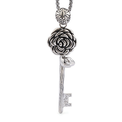 Retro Gothic silver rose pendant sterling silver 925