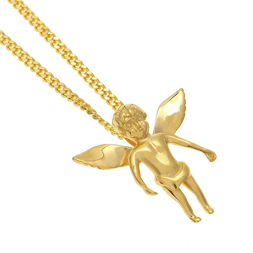 Hip-hop style baby angel stainless steel 316L necklace