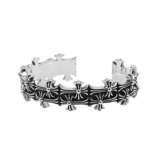 Unique punk style hip-hop cross bracelet sterling silver 925