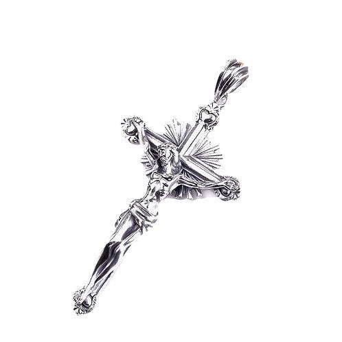 Silver cross Jesus pendant sterling silver 925 retro style
