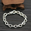 Thumbnail: Silver chic fashion design letter logo thick bracelet sterling silver 925