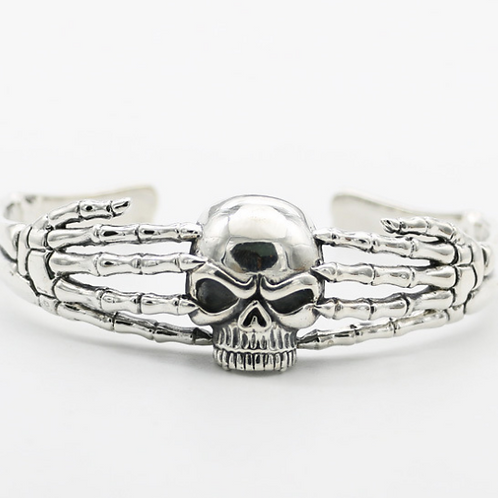 Fashion Gothic style punk skull opened men's bracelet sterling silver 925