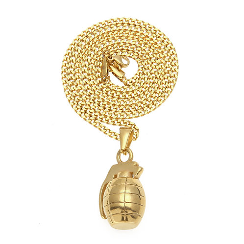 Fashion hip-hop style grenade stainless steel 316L necklace
