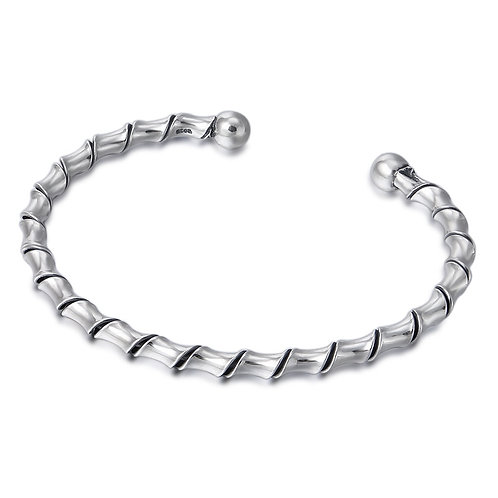 Retro simple design fashion opened bracelet sterling silver 925