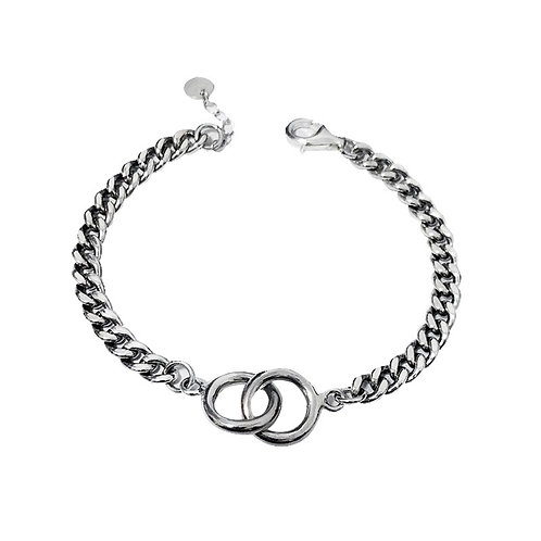 Creative design fashion simple double ring bracelet sterling silver 925