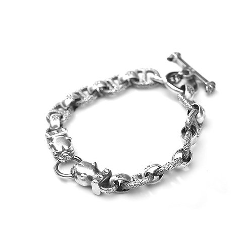 Retro punk style silver cross leopard men's bracelet sterling silver 925