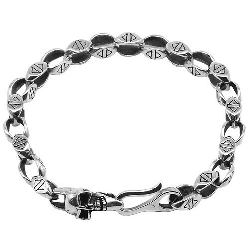 Retro unique design silver skull men's bracelet sterling silver 925