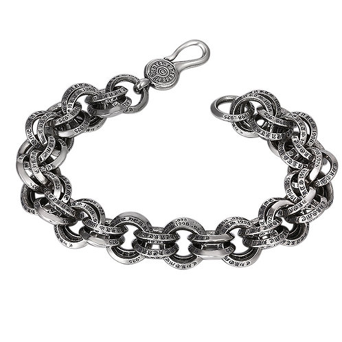 Retro style chic round circle men's bracelet sterling silver 925