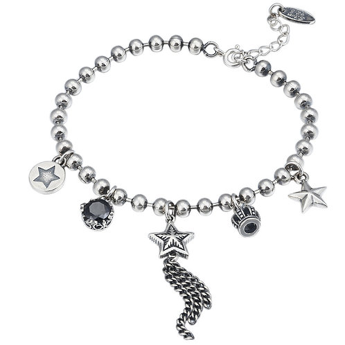 Unique silver fashion Korean style star round bead bracelet sterling silver 925