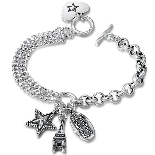 Silver Eiffel Tower retro pentagram star bracelet sterling silver 925