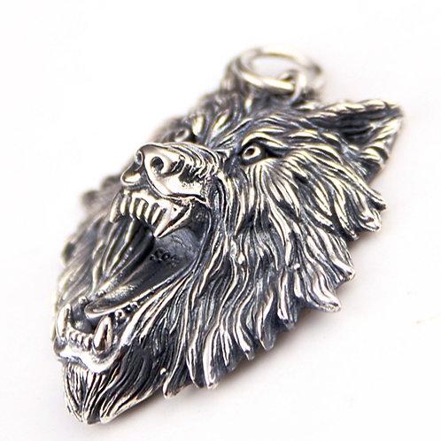 Retro domineering wolf head pendant sterling silver 925