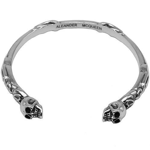 Western style simple retro design skull bracelet sterling silver 925