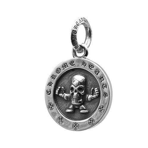 Retro punk round tag skull pendant sterling silver 925