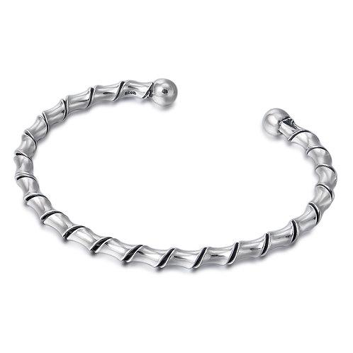 Unique design twist pattern retro fashion bracelet sterling silver 925