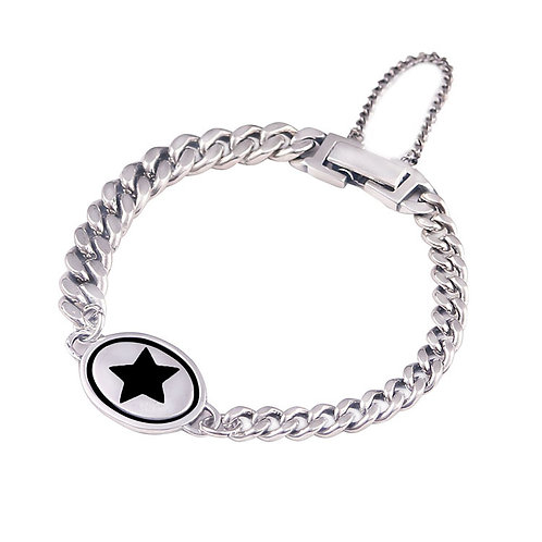 Custom-made silver retro pentagram star bracelet sterling silver 925