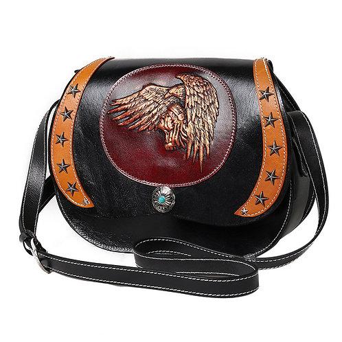 Creative design handmade full-grain cow leather shoulder bag