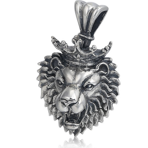 Crown lion punk pendant sterling silver 925 retro style