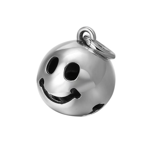 Simple smile bell round pendant sterling silver 925 retro style
