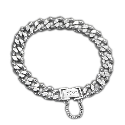 Silver classic style small skull bracelet sterling silver 925