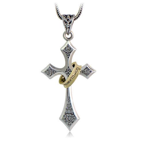 Silver Jesus cross ring pendant sterling silver 925