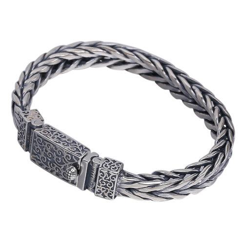 Men's knit flower fashion unique design bracelet sterling silver 925