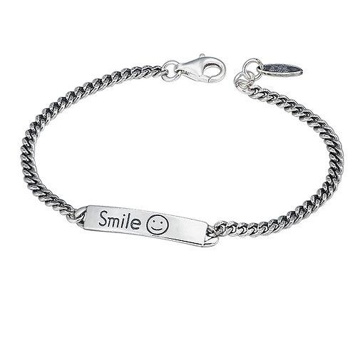 Silver simple style retro smile face letter bracelet sterling silver 925