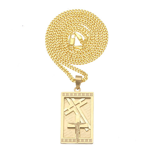 Cuban style Hip-hop style Jesus cross stainless steel 316L necklace