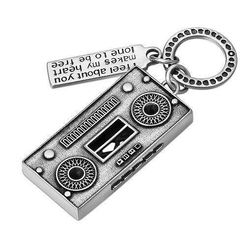 Retro silver radio pendant sterling silver 925