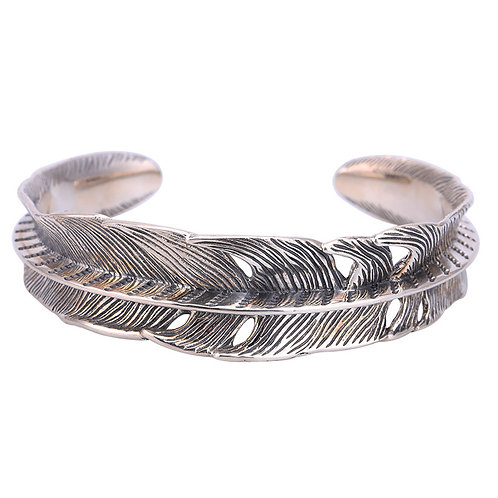 Korean style retro unique design feather bracelet sterling silver 925