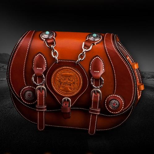 Creative design handmade full-grain cow leather messenger bag