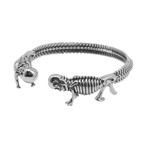 Unique domineering hip-hop style punk men's bracelet sterling silver 925