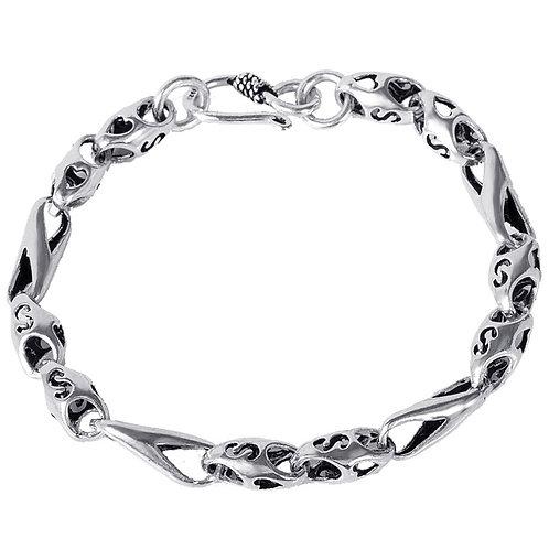 Men's retro hollow-out fashion design bracelet sterling silver 925