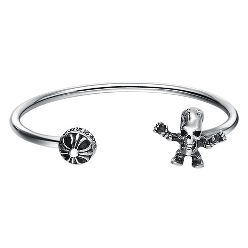 Fashion unique design retro skull opened bracelet sterling silver 925