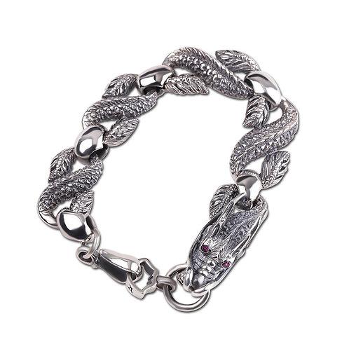 Unique fashion design hip-hop style dragon men's bracelet sterling silver 925