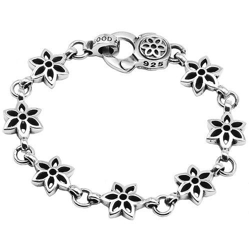 Retro unique style hollow-out design sakura bracelet sterling silver 925
