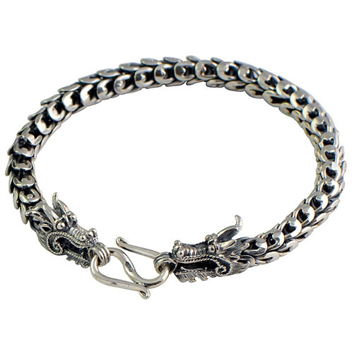 Silver dragon head dragon scales men's bracelet sterling silver 925