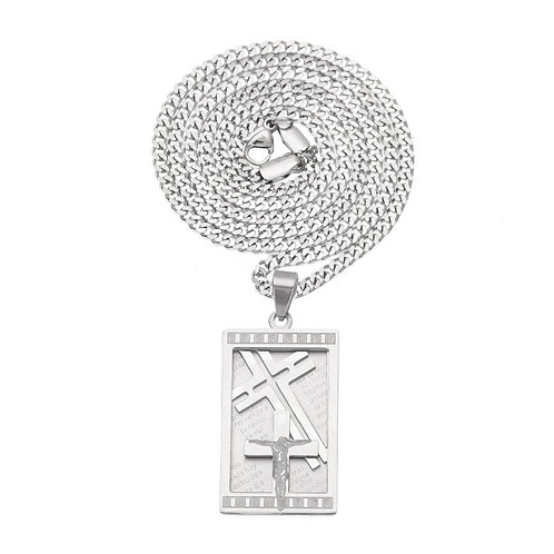 Hip-hop style Jesus cross stainless steel 316L necklace