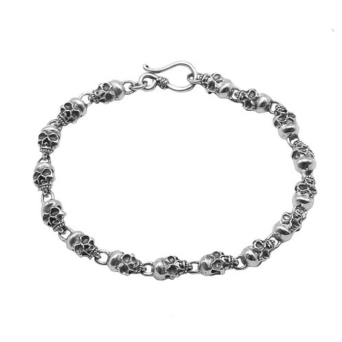 Retro unique design easy-matching skull bracelet sterling silver 925