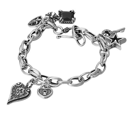 Silver simple design key heart pentagram star bracelet sterling silver 925