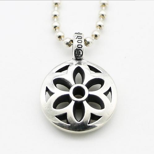Japanese fashion design retro hollow-out sakura pendant sterling silver 925