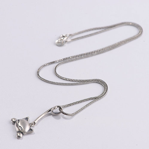 Retro matte long tail cute cat pendant sterling silver 925